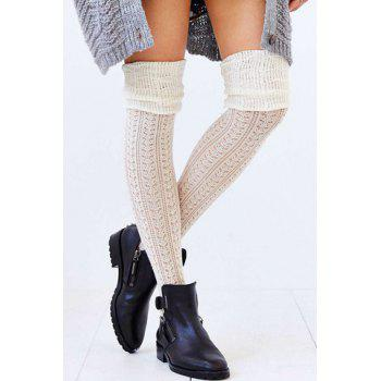 Pair of Chic Color Block Hollow Out Pleated Women's Knitted Stockings - COLOR ASSORTED COLOR ASSORTED