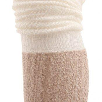 Pair of Chic Color Block Hollow Out Pleated Women's Knitted Stockings -  COLOR ASSORTED