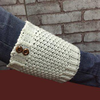 Pair of Chic Two Buttons Embellished Hollow Out Women's Knitted Boot Cuffs -  COLOR ASSORTED