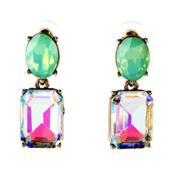 Pair of Trendy Candy Color Square Oval Faux Crystal Earrings For Women