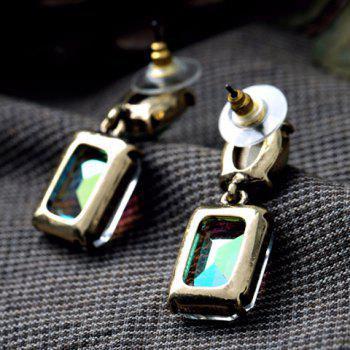 Pair of Trendy Candy Color Square Oval Faux Crystal Earrings For Women - COLORMIX