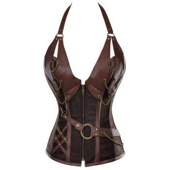 Sexy Women's Halter PU Leather Splicing Chained Corset