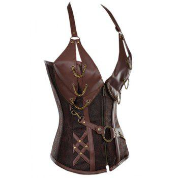 Sexy Women's Halter PU Leather Splicing Chained Corset - BROWN S