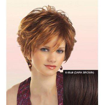 Real Human Hair Fashion Towheaded Curly Capless Elegant Side Bang Short Wig For Women