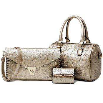 Elegant Embossing and Zipper Design Tote Bag For Women