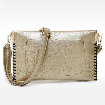 Elegant Embossing and Zipper Design Tote Bag For Women - GOLDEN