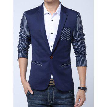 Stereo Patch Pocket Color Block Stripes Spliced Lapel Long Sleeves Men's Single-Breasted Blazer