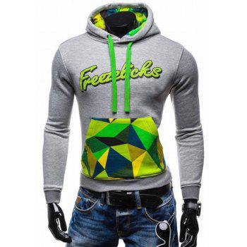 Slimming Lacing Hooded 3D Letters Pattern Colorized Front Pocket Rib Hem Men's Long Sleeves Hoodie