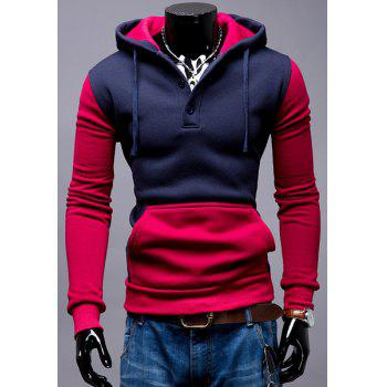 Single-Breasted Hooded Front Pocket Color Splicing Slimming Men's Long Sleeves Hoodie