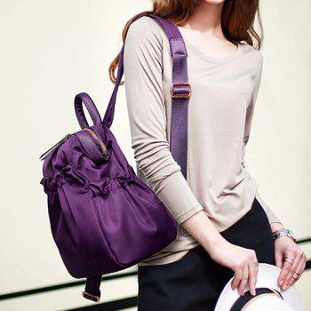 Leisure Solid Colour and Zipper Design Backpack For Women - PURPLE