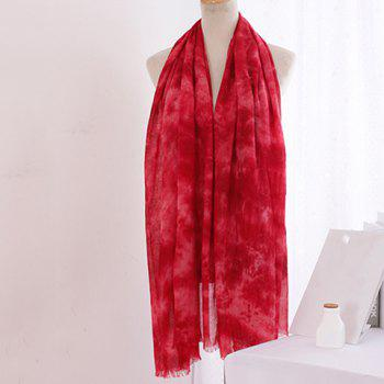 Chic Tie-Dyed Print Fringed Edge Women's Voile Scarf