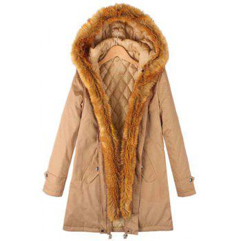 Stylish Long Sleeve Hooded Pocket Design Faux Fur Spliced Women's Coat