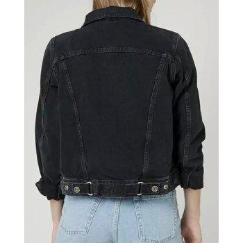 Vintage Long Sleeve Turn-Down Collar Bleach Wash Solid Color Women's Denim Jacket - BLACK BLACK