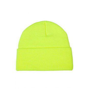 Chic Candy Color Knitted Beanie For Women - YELLOW YELLOW