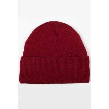 Chic Candy Color Knitted Beanie For Women - WINE RED WINE RED