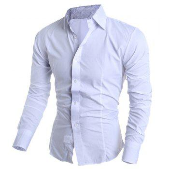 Casual Shirt Collar Color Block Paisley Spliced Long Sleeves Slimming Men's Cotton Blend Shirt