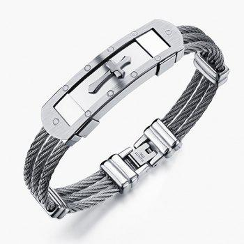 Delicate Layered Steel Wire Cross Bracelet For Men