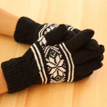 Pair of Stylish Snowflake Pattern Men's Knitted Gloves