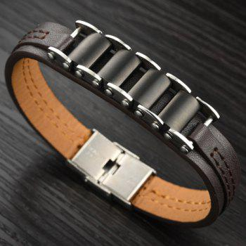 Punk Style Faux Leather Stainless Steel Bracelet -  BLACK