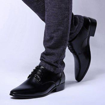 British Style Pointed Toe and Black Design Formal Shoes For Men - BLACK 42