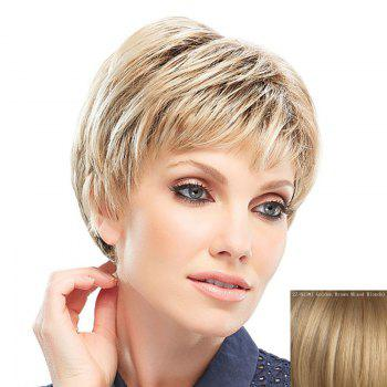 Fluffy Natural Straight Spiffy Ultrashort Capless Fashion Inclined Bang Human Hair Women's Wig - ASH BLONDE 27/613# ASH BLONDE /