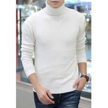 Contracted Fashion Long Sleeves Solid Color Slimming Men's Turtleneck Sweater