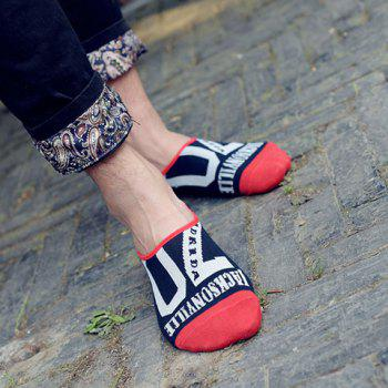 Pair of Casual Style Letters Pattern Color Block Men's Socks