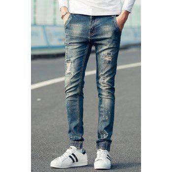 Street Style Beam Feet Big Hole Paint Dot Design Slimming Men's Zipper Fly Jeans