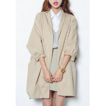 Simple Long Sleeve Pure Color Loose Coat For Women