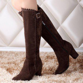 Fashionable Wave and Buckle Design Women's Boots - BROWN 38