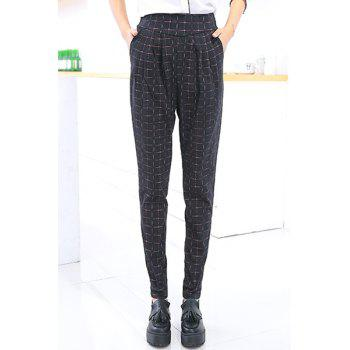Fashionable Checked Print Narrow Feet Women's Pants