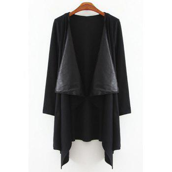 Stylish Collarless Long Sleeve Asymmetrical PU Spliced Women's Coat