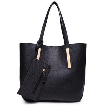 Stylish Metal and Solid Color Design Shoulder Bag For Women