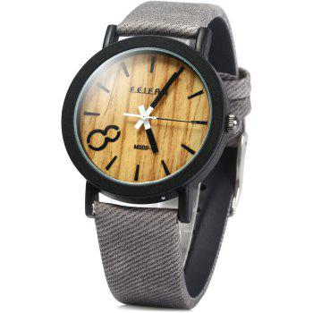 FEIFAN Male Quartz Watch with Big Number 8 Leather Band