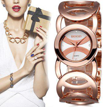 WeiQin 2487 Women Japan Quartz Chain Watch Diamond Scales Hollow Out Alloy Band Bracelet
