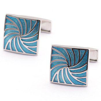 Pair of Stylish Vortex Shape Alloy Embellished Men's Quadrate Cufflinks