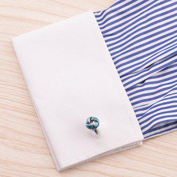Pair of Stylish Color Splice Love Knot Shape Men's Cufflinks -  SILVER/BLUE