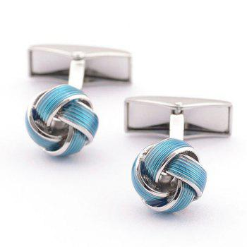 Pair of Stylish Color Splice Love Knot Shape Men's Cufflinks - SILVER AND BLUE SILVER/BLUE