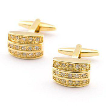 Pair of Stylish Rhinestone Embellished Men's Golden Alloy Cufflinks