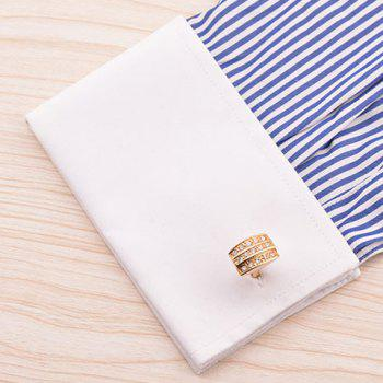 Pair of Stylish Rhinestone Embellished Men's Golden Alloy Cufflinks - GOLDEN