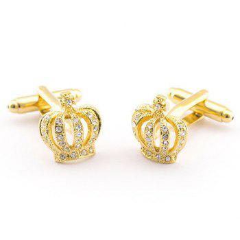Pair of Stylish Rhinestone Hollow Out Golden Crown Shape Men's Cufflinks -  GOLDEN