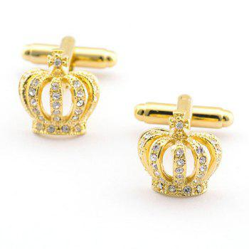 Pair of Stylish Rhinestone Hollow Out Golden Crown Shape Men's Cufflinks