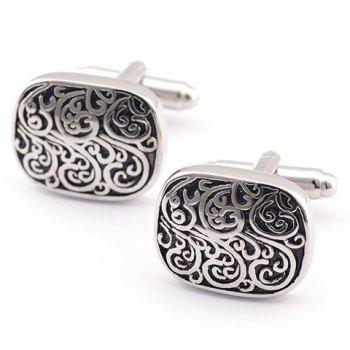 Pair of Stylish Retro Carve Embellished Men's Alloy Cufflinks - SILVER SILVER