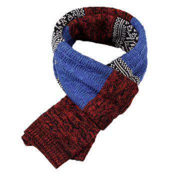 Stylish Tribal Rhombus Pattern Men's Knitted Scarf -  COLOR ASSORTED