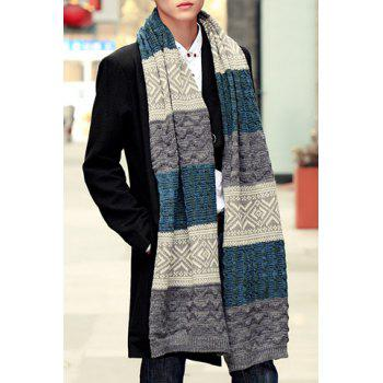 Stylish Tribal Rhombus Pattern Men's Knitted Scarf
