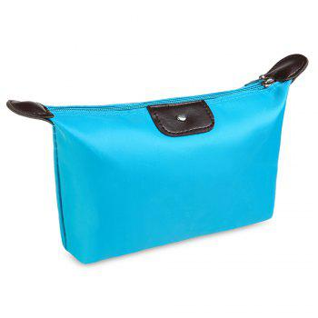 Candy Color Waterproof Zippered Cosmetic Makeup Bag -  AZURE