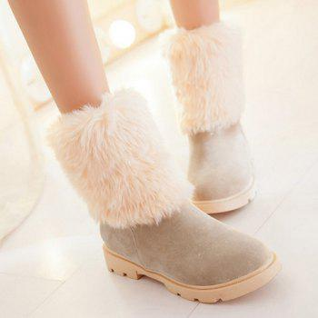 Faux Fur Tassels Ankle Boots - APRICOT 39