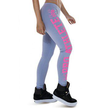 Trendy Letter Printed Color Block Bodycon Sport Leggings For Women