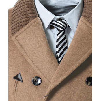 Knitted Lapel PU Leather Spliced Multi-Button Slimming Long Sleeves Men's Woolen Blend Thicken Peacoat - LIGHT CAMEL XL