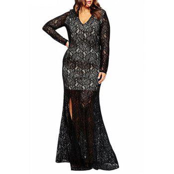 Plus Size Plunging Neck Long Sleeve High Slit Lace Dress